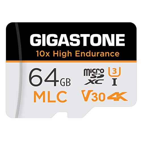 Gigastone MLC Scheda di Memoria 64 GB, 10x High Endurance, Compatibile con Telecamera di sicurezza, Videocamera, Gopro, Dashcam, Velocità di lettura fino a 100 MB s. Ideale per video 4K, U3 V30 C10