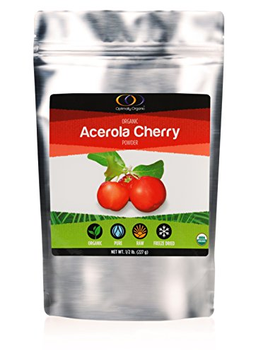 Freeze Dried Acerola Cherry Powder, Organic Certified, Raw All Natural Whole Fruit, Sugar Substitute ½ lb