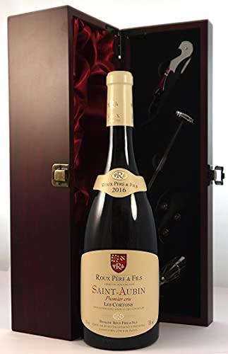 Saint Aubin 1er Cru 'Les Cortons' Blanc 2016 Roux Pere & Fils en una caja de regalo forrada de seda con cuatro accesorios de vino, 1 x 750ml