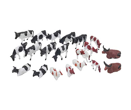 Hiawbon Mini Colorful Cattle Figurines Simulated Cattle HO Scale 1:87 Realistic Plastic Cow Figurines for Collection Science Educational Props  20 Pcs