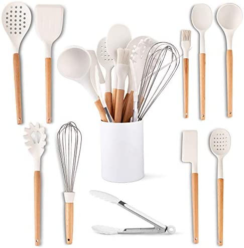 Five14 11 Pc White Silicone Kitchen Utensils Set Heat Resistant Silicone Cooking Utensils Beech product image