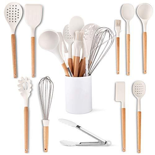 Five14 11Pc White Silicone Kitchen Utensils Set Heat Resistant Silicone Cooking Utensils Beech Wooden Handles NonStick Silicone Cooking Set Holder Spatula Tongs Whisk Brush Spoon BPAFree