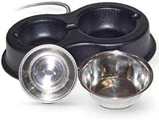 K&H Manufacturing Thermo-Kitty Cafe Heated Food & Water Bowl, Stainless/Black, 30W