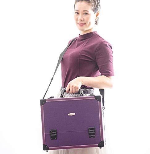 Trousse De Maquillage Beauty Tools Grande Capacité Matériau Pu Imperméable Esthéticienne Maquilleuse Professionnelle Boîte à Outils Manucure36x24x30cm,purple