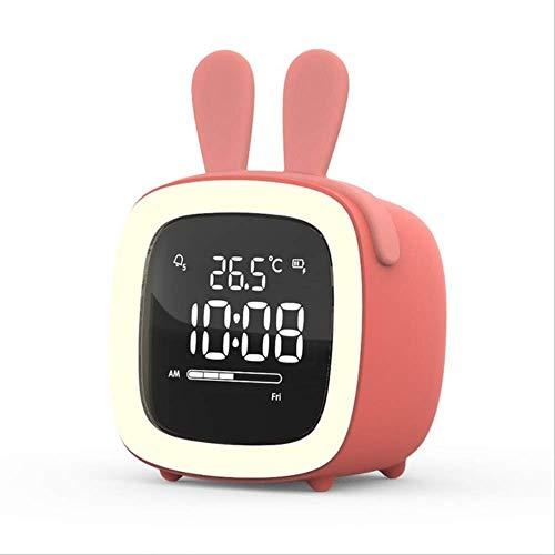 Reloj Despertador para Niños Reloj Despertador con Luz Nocturna De TV Linda para Niños Reloj De Escritorio con Pilas Recargables Rojo