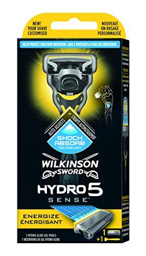 Wilkinson Sword Hydro 5 Sense - Máquina de Afeitar Recargable de 5 Hojas Autoajustable al Contorno con Gel Hidratante para Hombre, Mango con Tecnología Shock Absorb