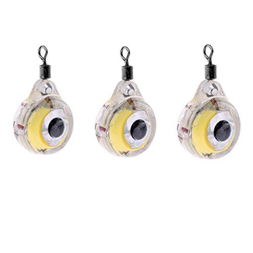 Sharplace 3 Stück Kunststoff Angel Köder Wasserfest Blinkende LED-Köder Elektronisches Blinklicht ca. 13 mm / 0,51 Zoll