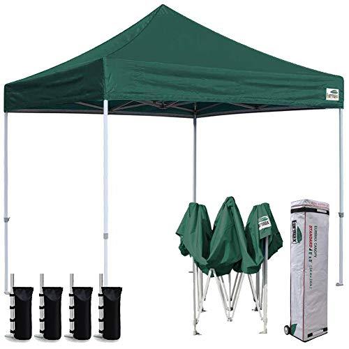 Eurmax 8x8 Feet Ez Pop up Canopy, Outdoor Canopies Instant Party Tent, Sport Gazebo Bonus Roller Bag (Forst Green)