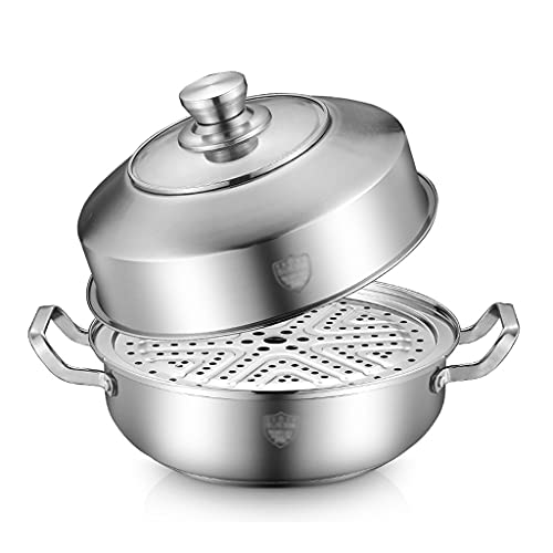 ZHGCHF Vaporizador de acero inoxidable sauna olla mariscos vapor olla doméstico engrosado sopa olla estufa de gas cocina de inducción olla caliente