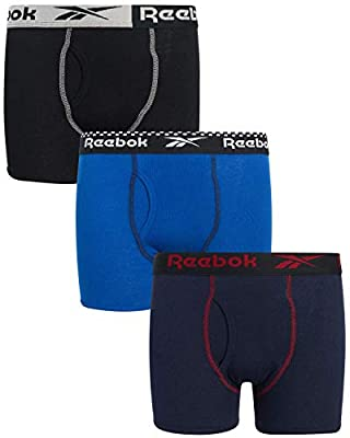 Reebok Boys' Cotton Boxer Briefs Underwear (3 Pack), Black/Royal/Navy, Size Large'