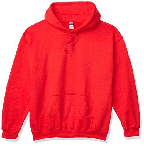 Gildan Men's Heavy Blend Fleece Hooded Sweatshirt G18500, Red, Large