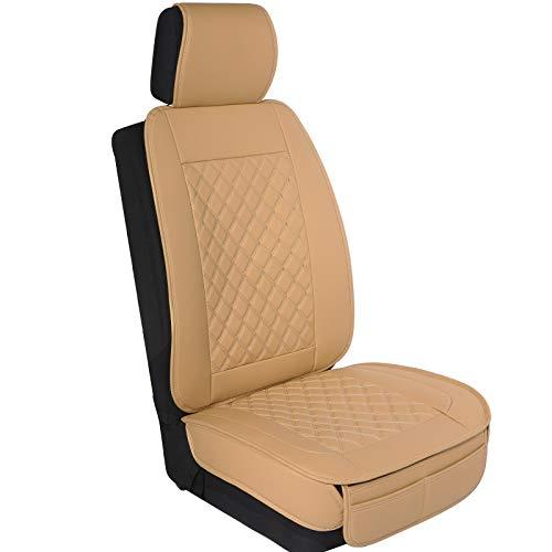 ELUTO Fundas Asientos Delanteros Fundas Asientos Coche Universales Compatible con Airbag Desmontable Mayoría de los Sedán SUV Camiones RVs etc.Beige ECSC-203