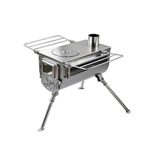 Winnerwell Woodlander Double-View Medium Tent Stove | Portable Wood Burning Tent Stove for Tents, Shelters, and Camping | 800 Cubic Inch Firebox | Stainless Steel Construction | Includes Chimney Pipe
