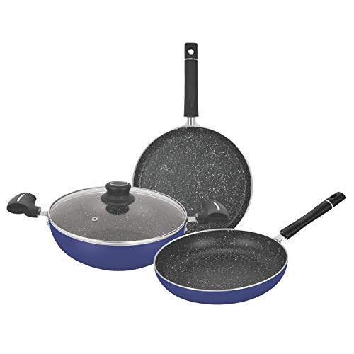Wellberg Marble Press Aluminium Non Stick 4 Pcs Cookware Set,...