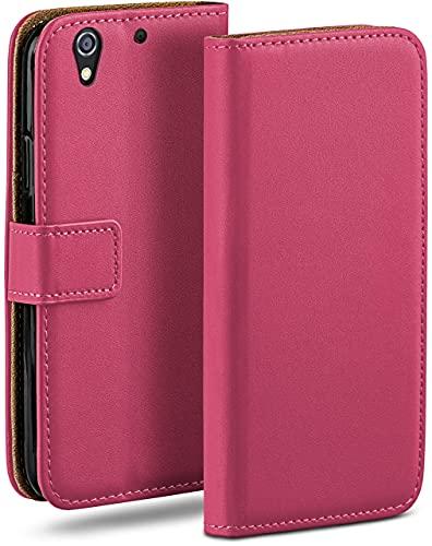 moex Klapphülle für HTC Desire 626G Hülle klappbar, Handyhülle mit Kartenfach, 360 Grad Schutzhülle zum klappen, Flip Hülle Book Cover, Vegan Leder Handytasche, Pink
