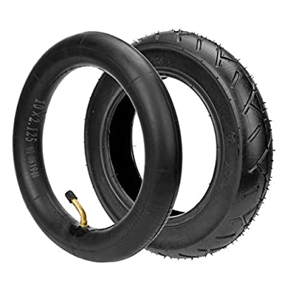 """HIAORS 10 x 2.125 10"""" Tyre Tire + Tube with Angled Stem for Smart Self Balancing 2-wheel Scooter Folding Electric Bicycle Swag Cycle Pro"""