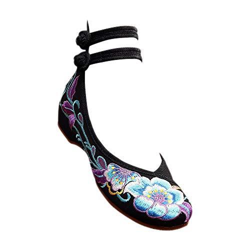 DAZISEN Schuhe Der Chinesischen Artfrauen - Stickerei Leinwand Flach Unten Casual Mode Sandalen Schuhe,Schwarz/41