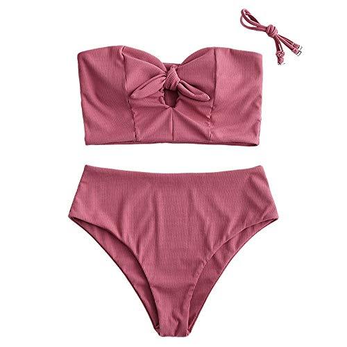 ZAFUL Damen Einfarbiger Trägerlos Bandeau Bikini Set Gerippter gebunden Tankini High Waist Badeanzug(Rosa,S)