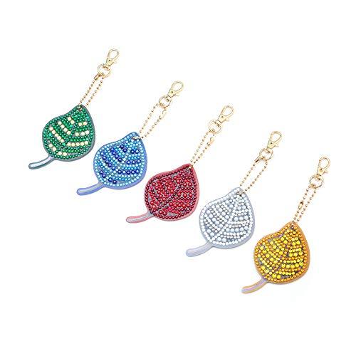 HshDUti Diamant-Malerei Keychain Schlüsselhalter-Geschenk 5Pieces hängende Verzierungs-Schmetterlings-Blatt-Beutel-Dekor- 2#
