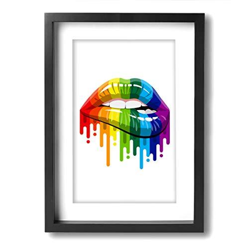 SRuhqu Canvas Wall Art Prints Gay Homosexual Lesbian Rainbow Lips Pride -Photo Paintings Modern Decorative Giclee Artwork Wall Decor-Wood Frame Ready to Hang