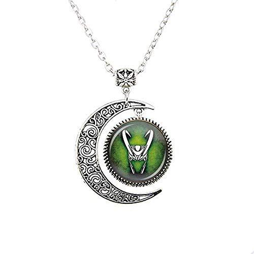 Collana con luna, Loki Moon Collana con dio della luna maliziosa, Loki Jewelry