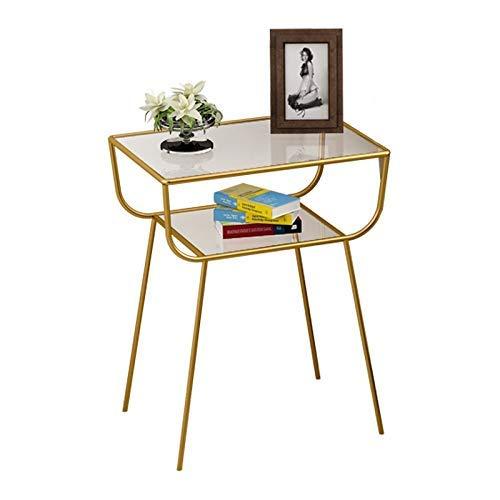 HYY-YY Mesa de café pequeña del hierro, mesa de té creativa del dormitorio de la sala de estar, mesa pequeña de la esquina lateral de cristal templado