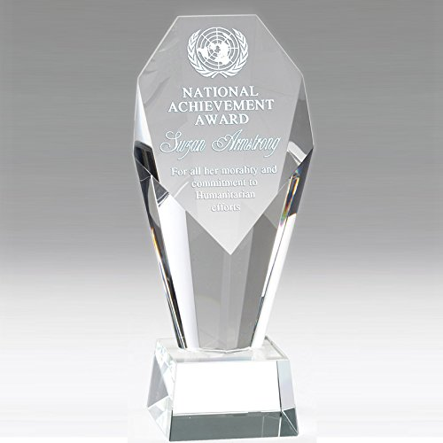 Customizable 8-1/2 Inch Optical Crystal Faceted and Beveled Column Pillar Award with Personalization