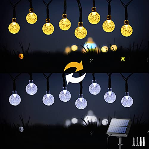 Solar Srting Lights Outdoor, 36ft 60 LED 2-in-1 Color Changing Globe Outdoor String Lights, 11 Modes Waterproof Solar Patio Lights for Garden, Party, Patio, Outdoor Decorations (White & Warm White)