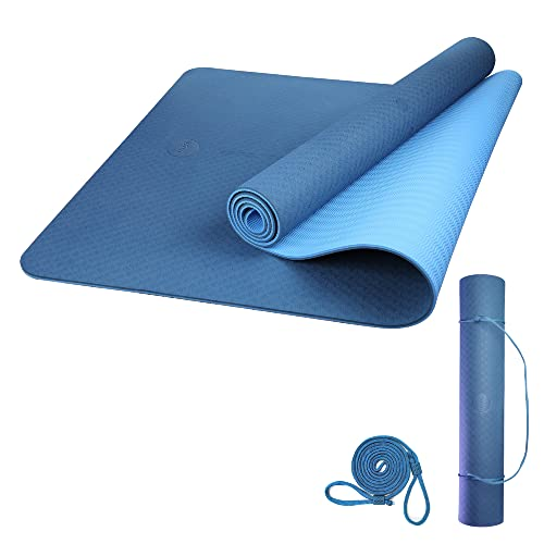 Amazon Brand - Umi - Esterilla Yoga Antideslizante ,TPE Alfombrilla de Yoga, Esterilla Pilates con Línea Auxiliar,Esterilla Deporte-con Bandolera(Azul, 1830×660×6mm)