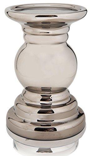 CHICCIE Keramik Kerzenhalter Racheal Silber 15cm - Kerzenständer Kerzenleuchter