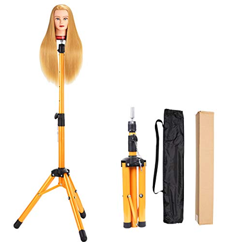 Alileader Wig Stand Tripod Mannequin Head Stand Heavy Duty Wig Stand Tripod Wig Stand for Styling Tripod for Mannequin Heads(Golden,Maximum Height 45 Inches,Mannequin Head Not Included)