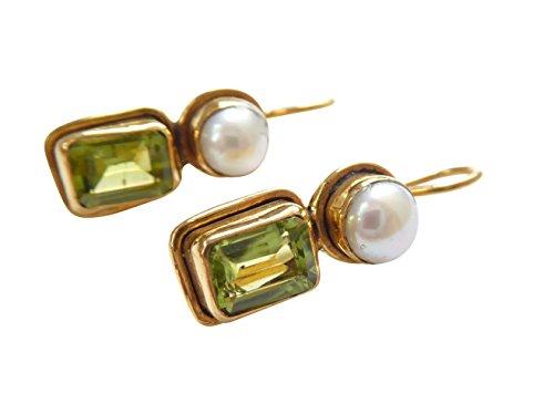 Pendientes de peridoto verdes y rectangulares, perlas de agua dulce, colgantes, con cierre, de plata chapada en oro, retro, vintage, únicos, hechos a mano en Italia
