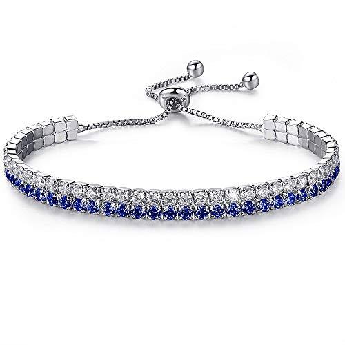 YooAi Cubic Zirconia Bracelets Colorful Rhinestone Bracelets Bohemian Adjustable Tennis Bracelet Blue