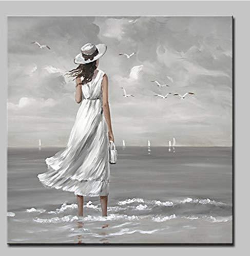 YHXIAOBAOZI 100% Handgemalt Abstrakt Charakter Gemälde Auf Leinwand Weiße Frau Am Meer Moderne Wand Kunst Schmuck Bilder Malen Für Live Zimmer Home Decor 32 × 32 cm (80 × 80 cm)