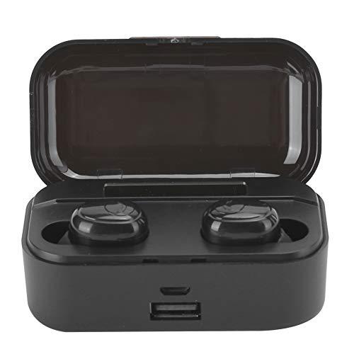 Cuifati True Wireless Earbuds 5.0 Auriculares con Sonido Envolvente In-Ear TWS Auriculares estéreo con contenedor de Carga Premium Deep Bass para Deportes(Binaural Black)