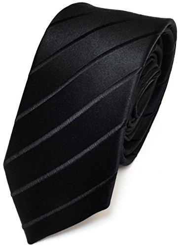 TigerTie Schmale Seidenkrawatte schwarz gestreift - Tie Krawatte 100% pure Seide/Silk