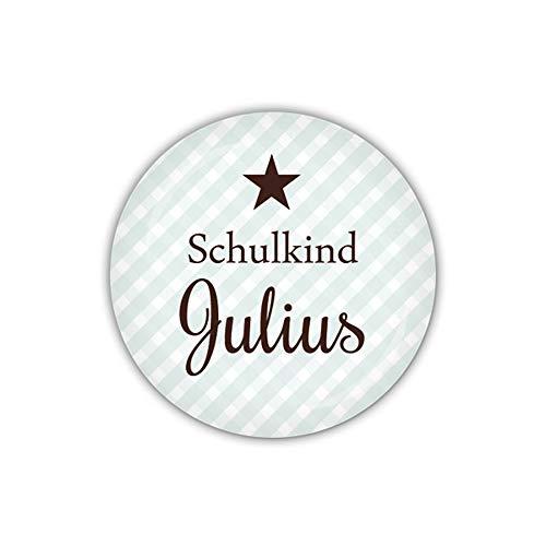 lijelove® Button 38mm Ø Vichy blau, Schulkind mit Wunschname (Art. 04-023J)