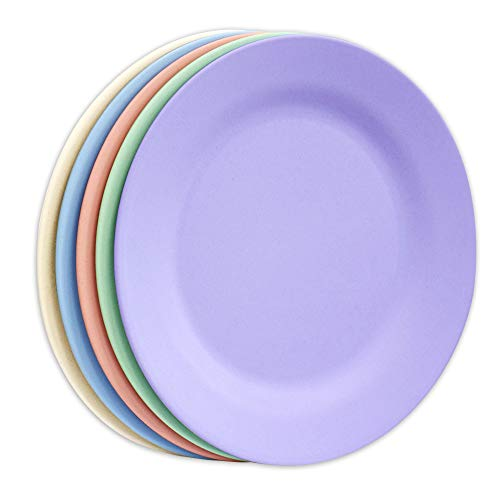 Lot de 5 assiettes plates de 27,9 cm, assiettes à pâtes extra larges, assiettes incassables, vaisselle à salade en paille de blé, vaisselle à dessert en fibre réutilisable (couleurs assorties)