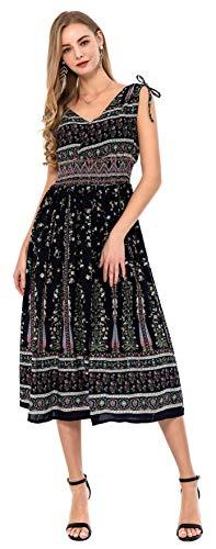 Wantdo Women's Maxi Dress Sleeveless Floral Long Dress Casual Navy Flower S