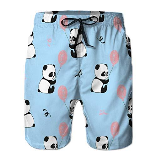 vbndfghjd 3D Graphic Herren Sommer Schwimmen Funny Beach Board Shorts nahtloses Muster niedlichen Panda Bären Luftballons Kinder Hintergrund Wasserzeichen L
