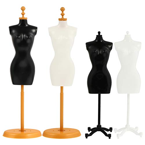 Mini Size Female Mannequin Torso, 4Pcs Mini Doll Dress Form Manikin Body with Base Stand for Sewing Dressmakers Dress Jewelry Display, Black&White, 25x7.5cm 9.82x2.95inch, (Mixed Style)