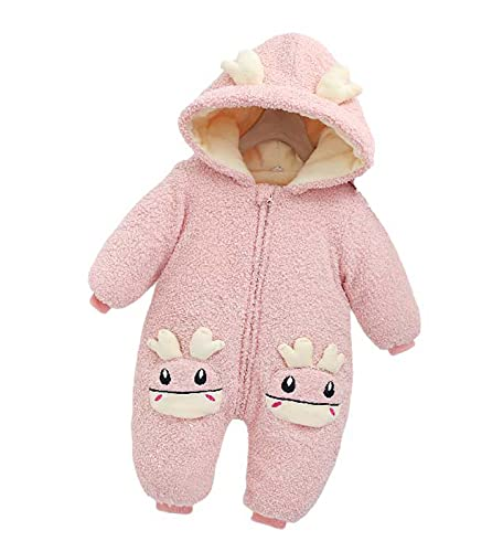 Newborn Baby Boy Girl Hooded Fleece Rompers Infant Snowsuit Jumpsuit Long Sleeve Toddler Winter Outfits Pink