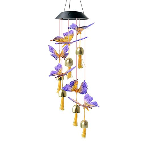 YIREAUD Solar Butterfly Wind Chime,Color-Changing Outdoor Decoration Waterproof LED Memorial Wind Chime Solar Powered Colorful Light for Home Party Yard Garden