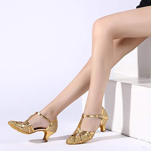 YKXLM Damen & Mädchen Ausgestelltes Tanzschuhe/Standard Ballsaal Latein Dance Schuhe,DE511-5,Gold,EU 39 - 7
