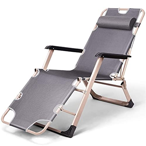 LLSS Metal Sun Lounger, Folding Sunbed,Static Load, Rust-Resistant, with Breathable Synthetic Fabric, Backrest 4 Position Adjustment Gray Garden Recliner Chairs