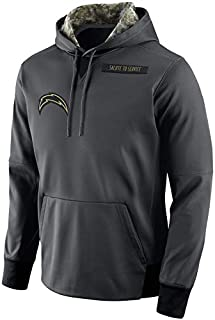 Men's Los Angeles Chargers Salute to Service Sideline Therma Pullover Hoodie