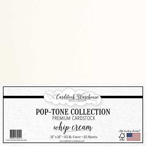 Whip Cream Cardstock Paper - 12 x 12 inch 65 lb. Premium Cover - 25 Sheets from Cardstock Warehouse