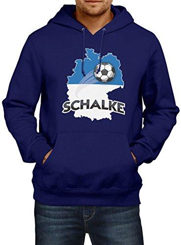 Shirt Happenz Schalke #2 Premium Hoodie Fussball Fan-Trikot Die Macht in Deutschland Herren Kapuzenpullover, Farbe:Dunkelblau;Größe:XL