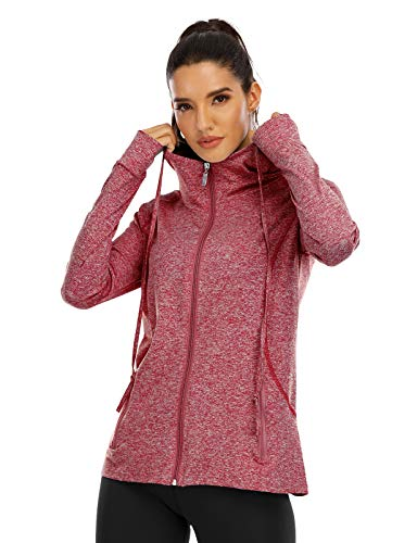 Koscacy Light Jackets for Women ,Ropa Deportiva Para Mujer Activewear Tops Long Sleeve Zip-Up Sport Fitness Tunic Sweatshirt Utility Pockets Running Shirts with Thumb Holes Clothes Wine XL
