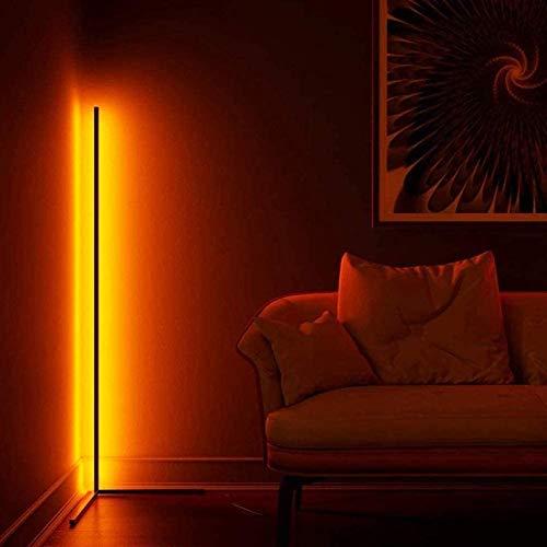 WFWPY LED Stehlampe 20W Dimmbar Stehleuchte mit RGB und Fernbedienung, Modern Farbwechsel Eckleuchte Standlampe für Wohnzimmer Schlafzimmer, Schwarz [Energieklasse A],142cm [Energieklasse A+++]